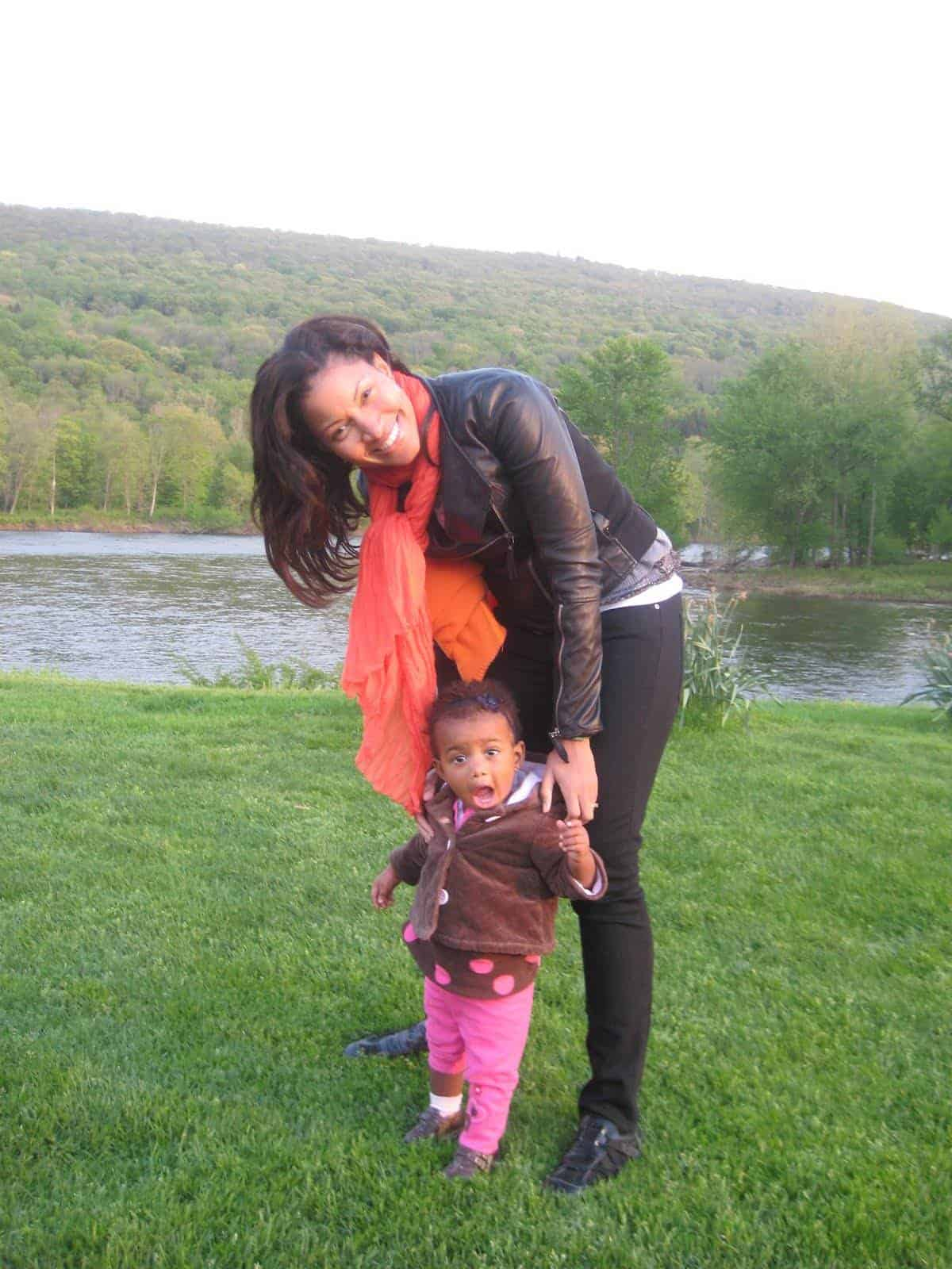 Mommy and daughter in the Poconos
