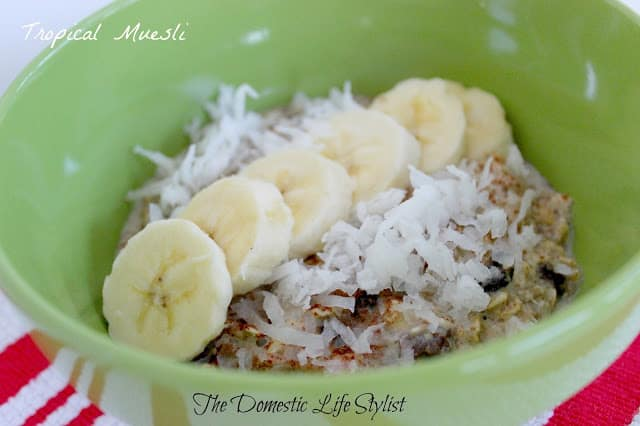 muesli with coconut and banana
