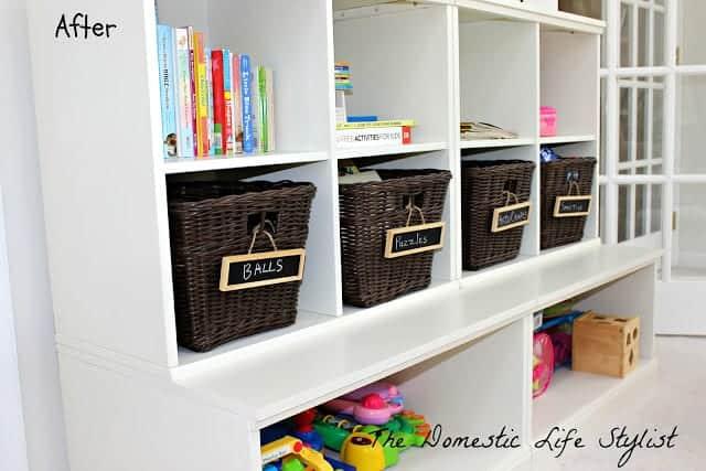 Organized toy shelf
