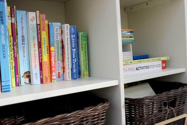 organized kids books on shelf
