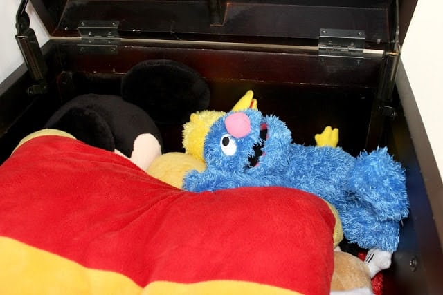 box of plush toys