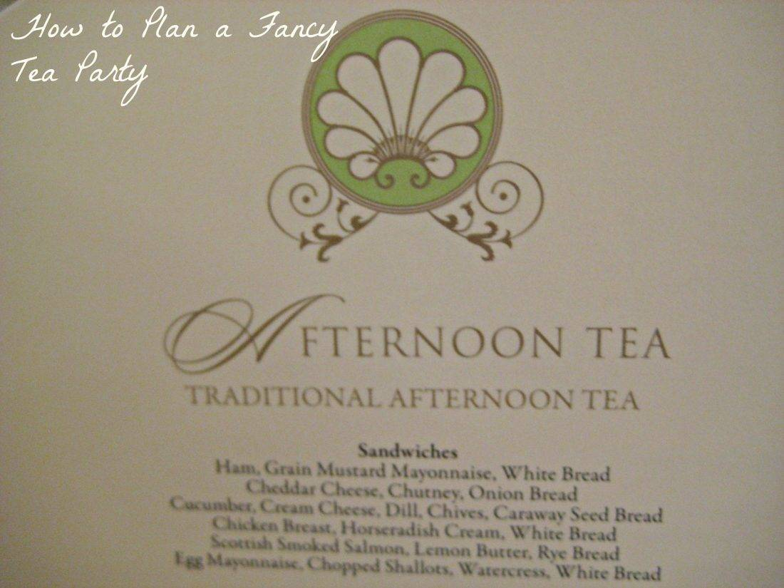 Tea sandwich menu at Ritz London
