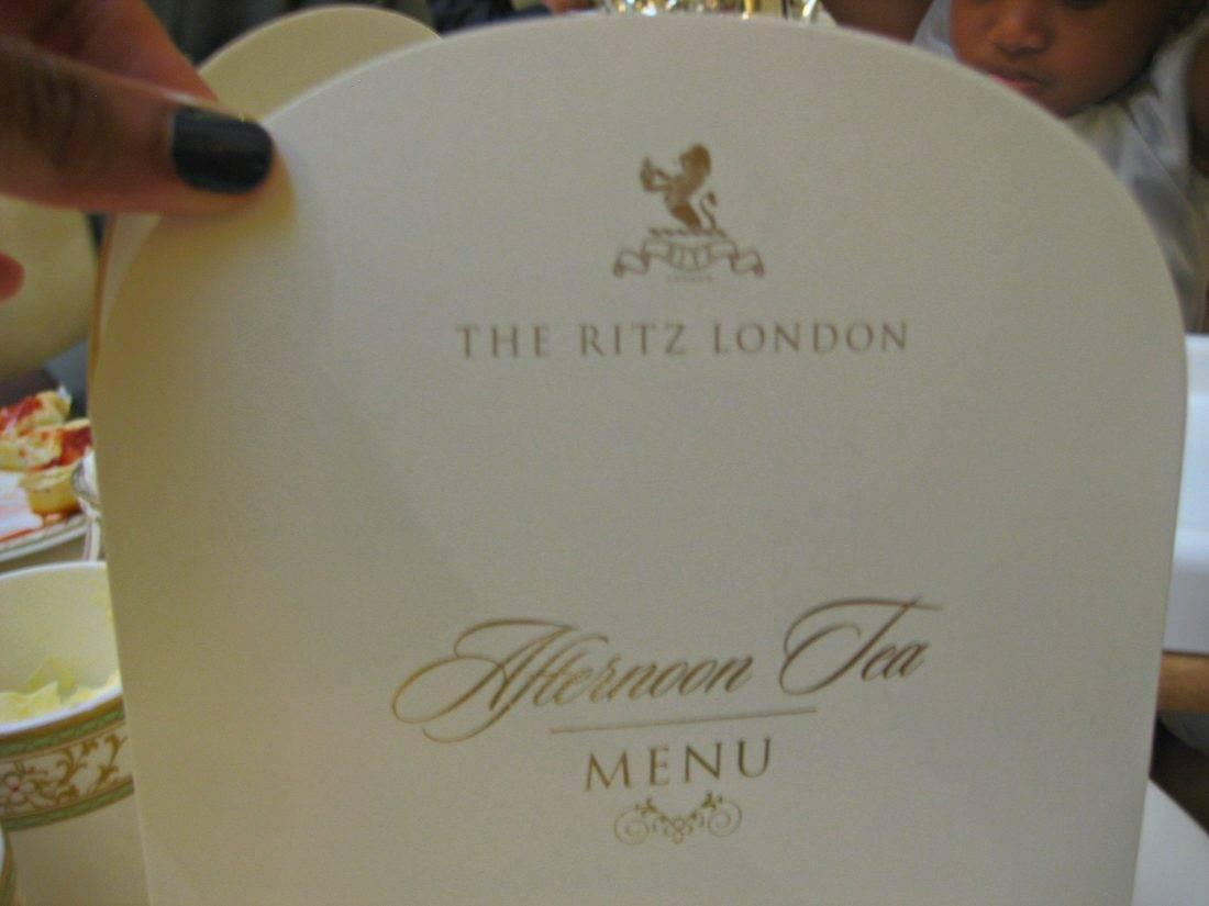 High tea at the ritz menu