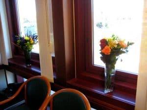 2 flower vases in the window