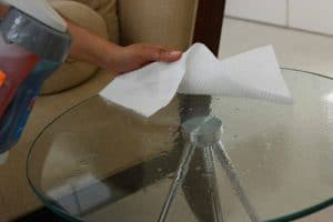 Cleaning glass table