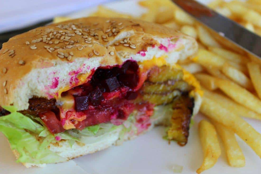 sandwich with plantains and beets