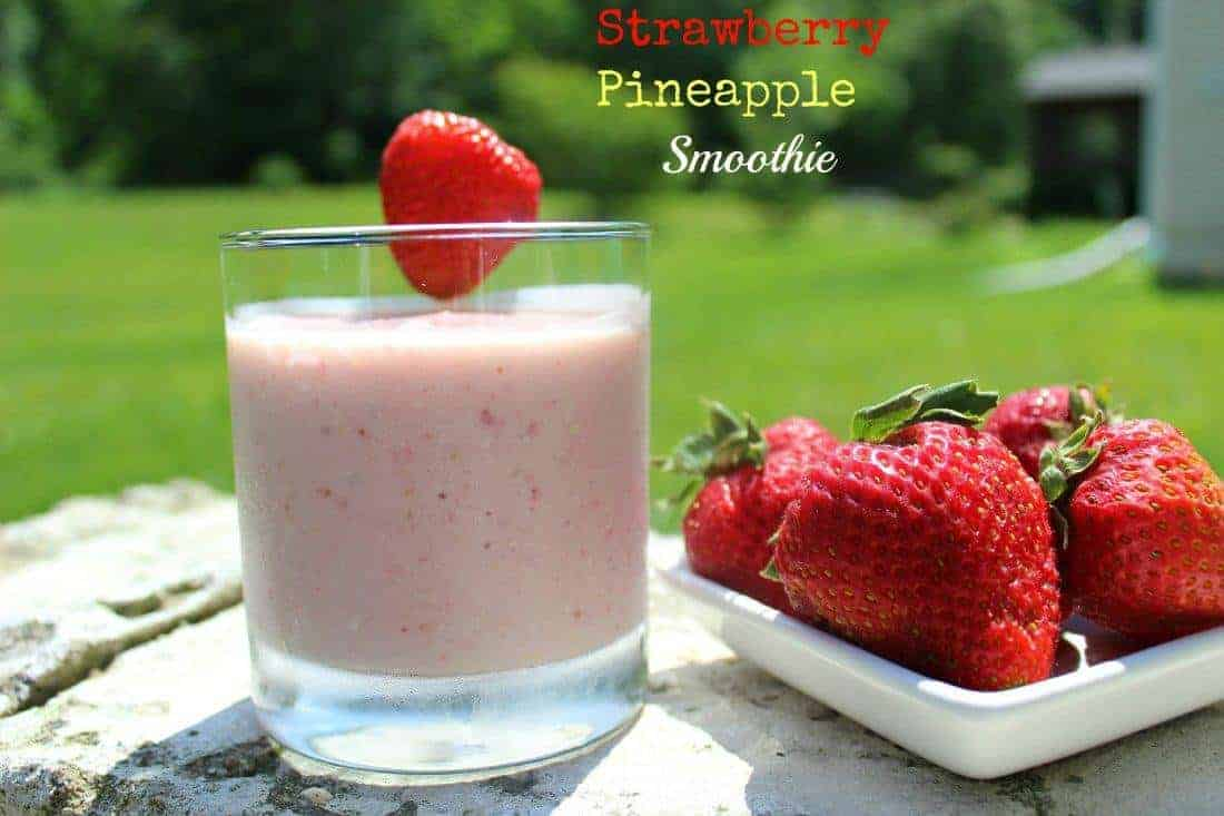 Strawberry Pineapple smoothie in glass