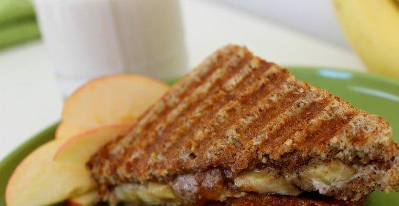 Almond apple butter banana sandwich