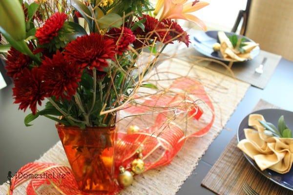 Flower vase on table