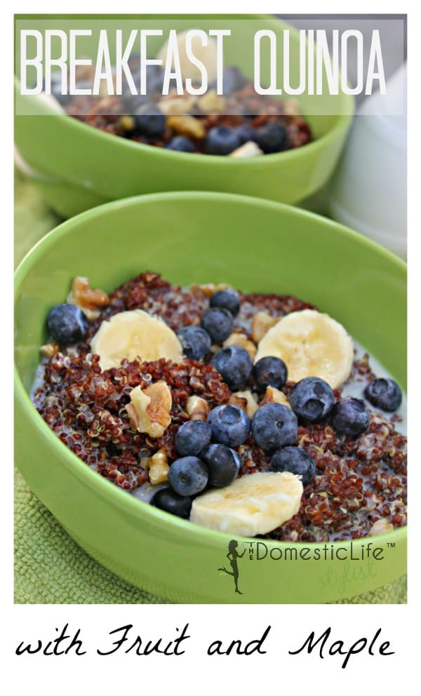 Red Quinoa for breakfast with fruit, maple and a whole lot of yum