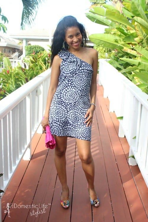 blue and white one shoulder short cocktail dress