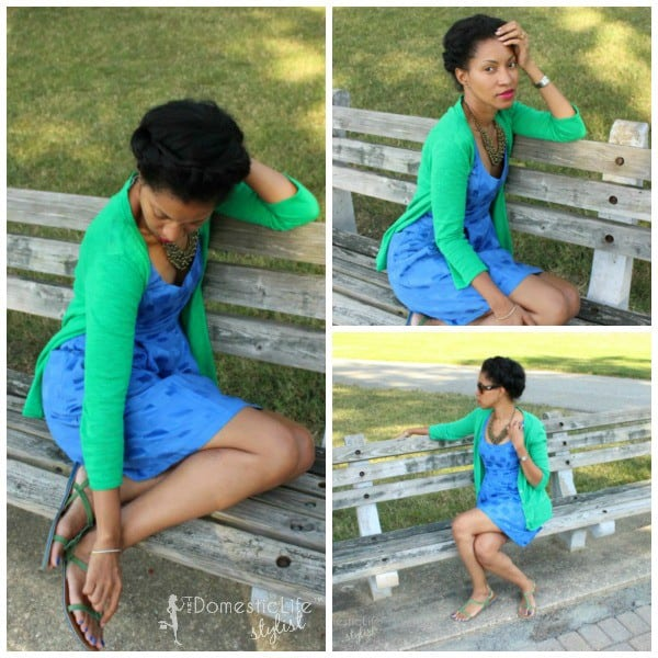 End of summer: Blue dress with green sweater ensemble