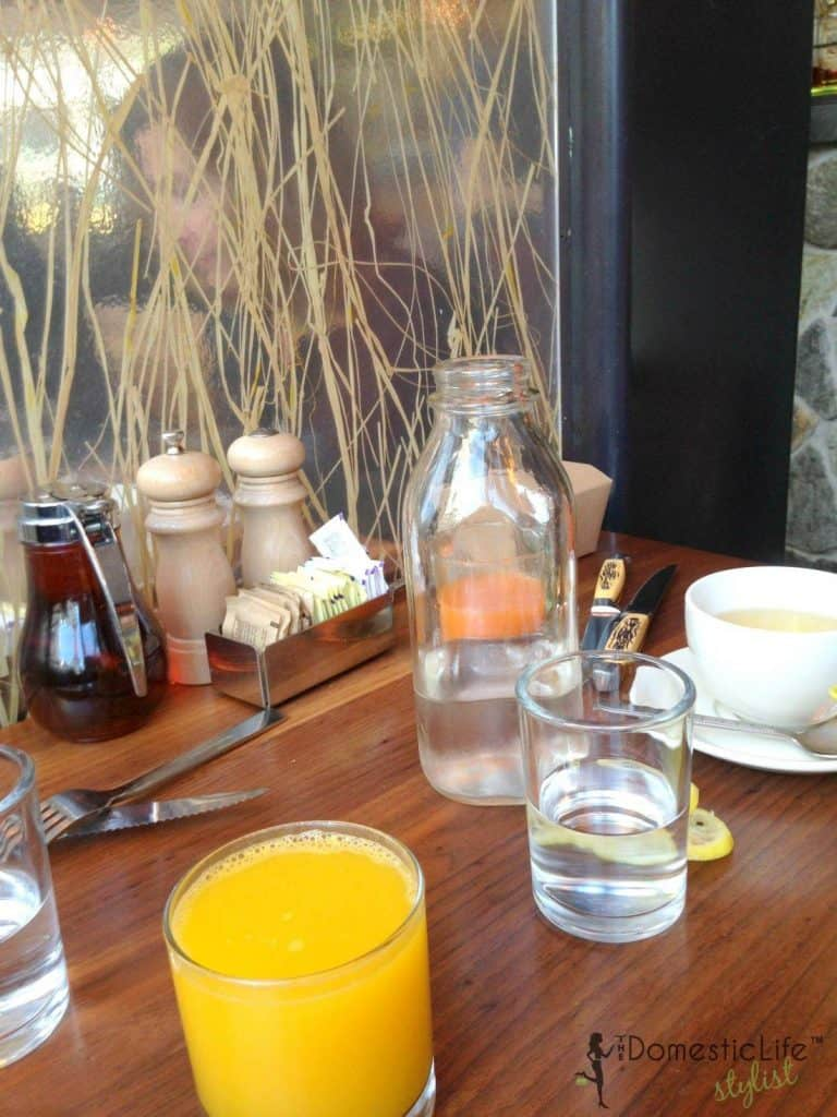 glass of orange juice at Founding Farmers