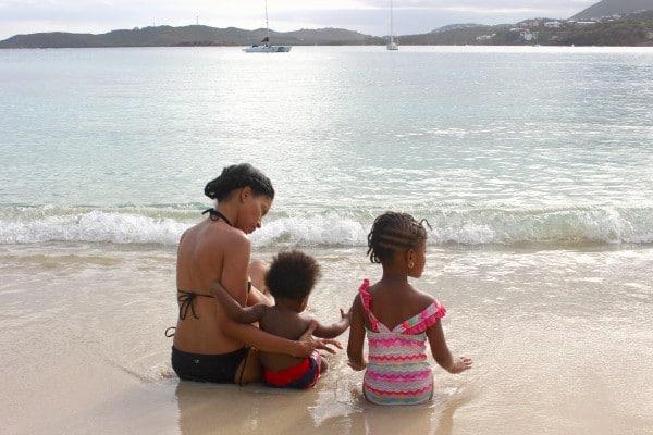 mom and kids on beach