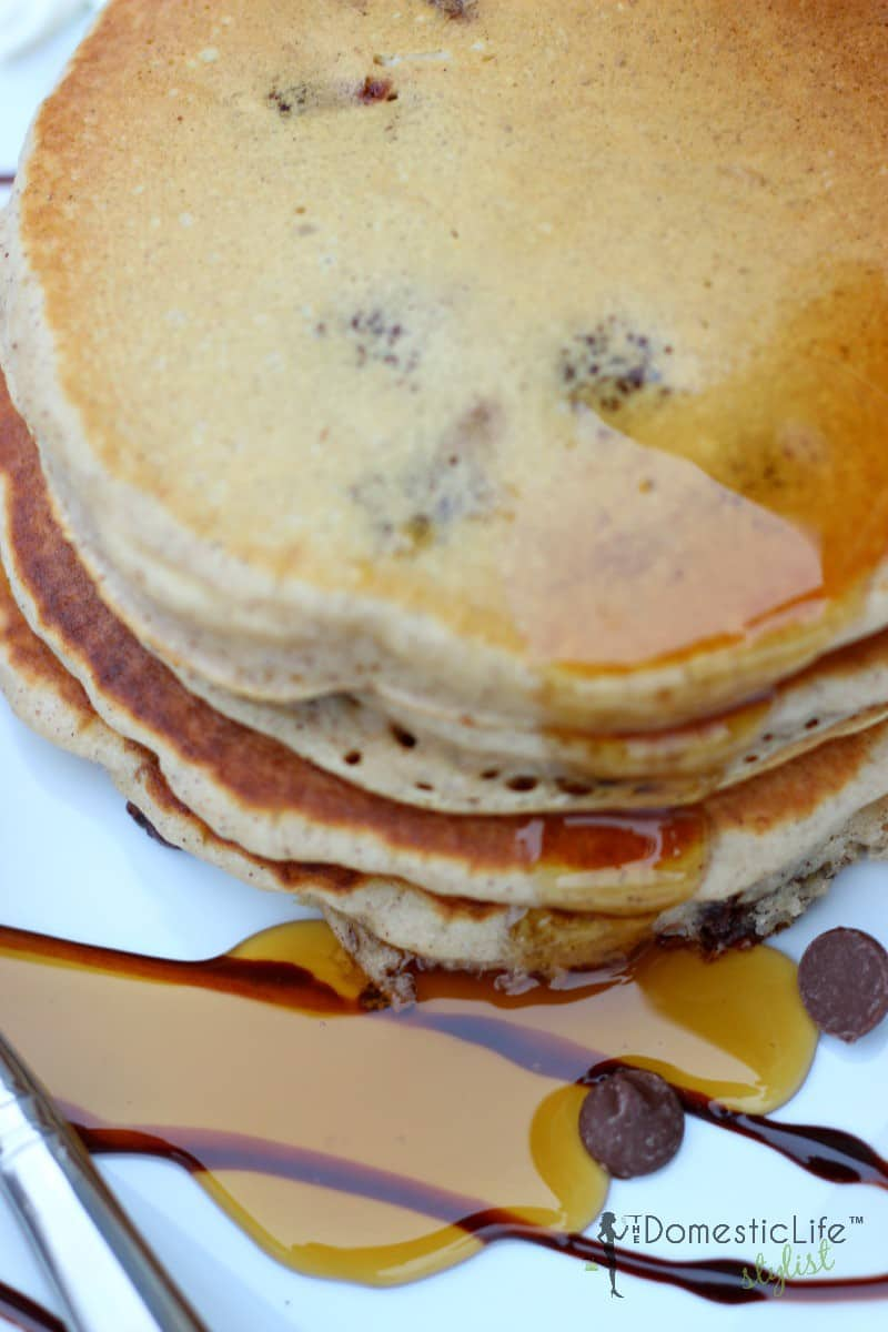 Homemade Fluffy Chocolate Chip Pancakes + Video | The Domestic ...