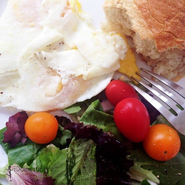 fried eggs, crusty bread