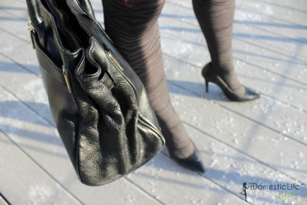 black pumps with tiger stripe tights