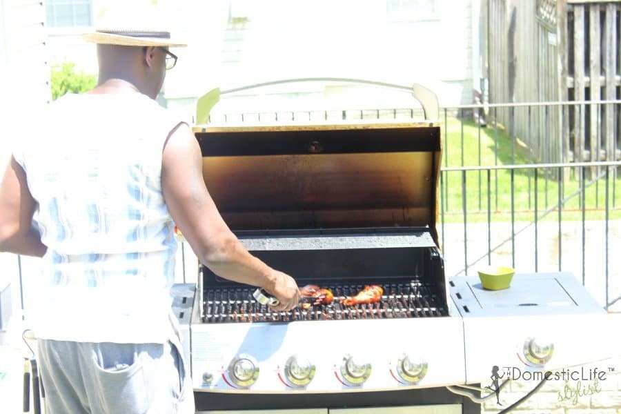 dad on barbecue grill