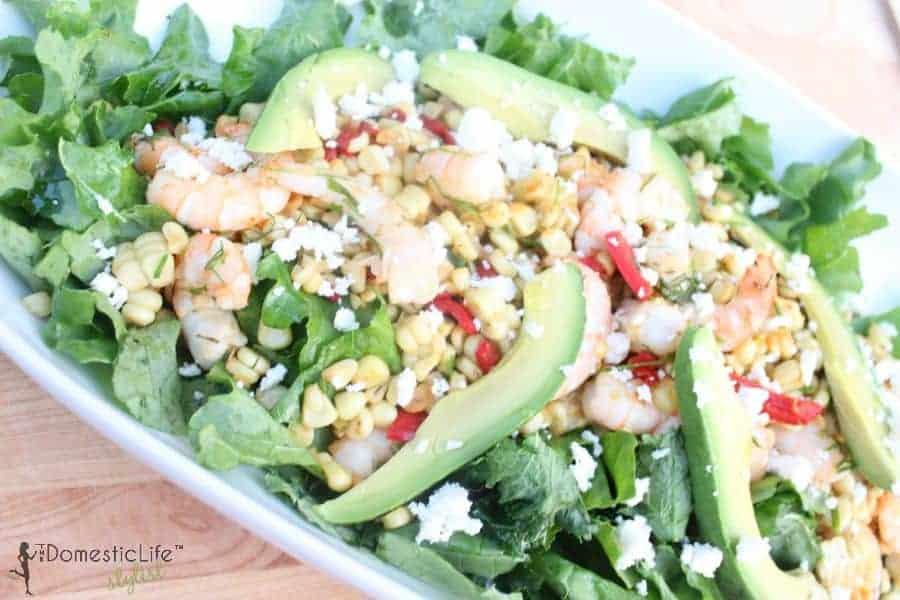 shrimp, corn and avocado salad