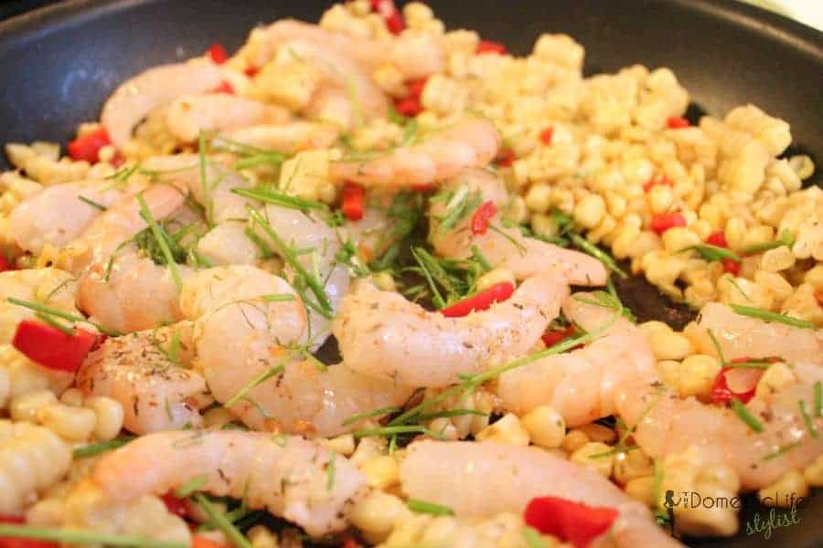 shrimp, corn  in pan