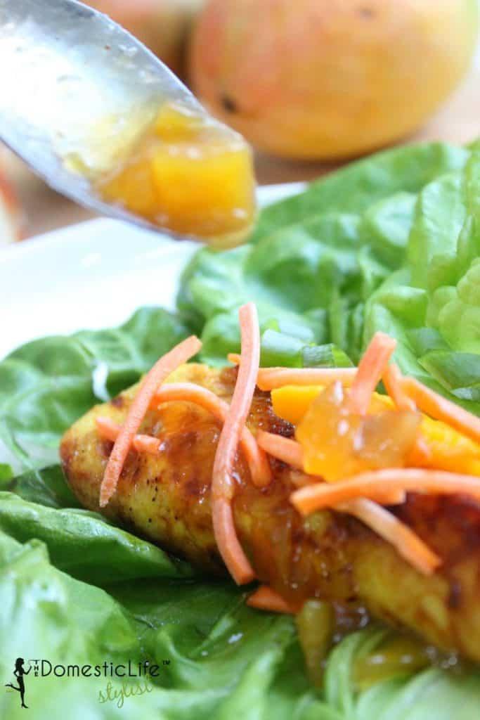 chicken wrap with mango chutney