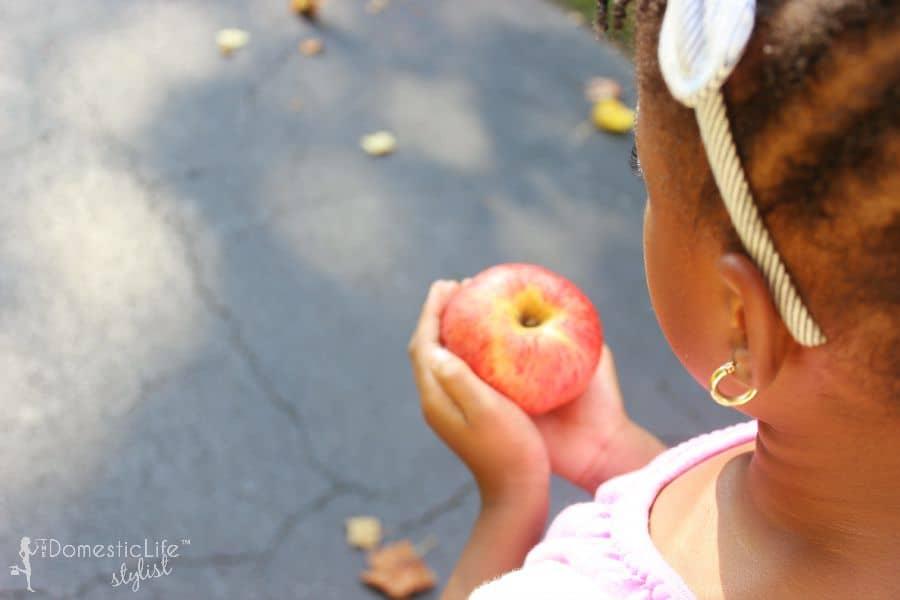 girl holding a apple