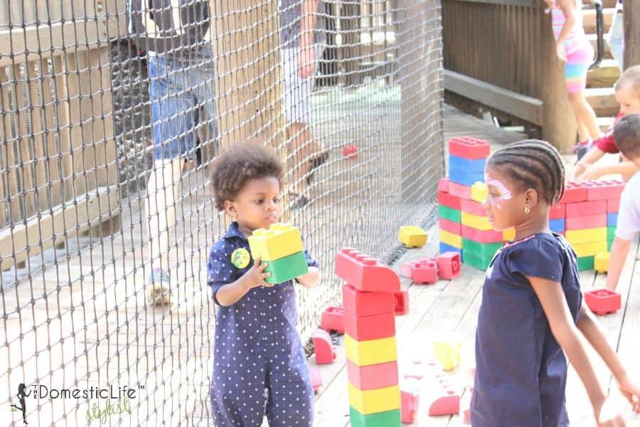 playing with blocks at Legoland