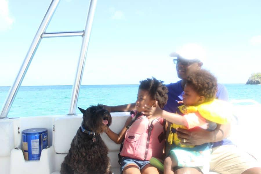 buck island with dog