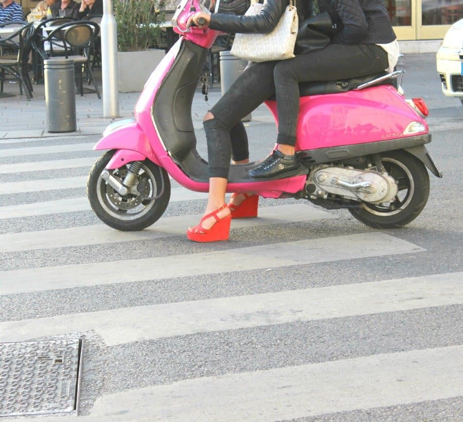 heels on scooter