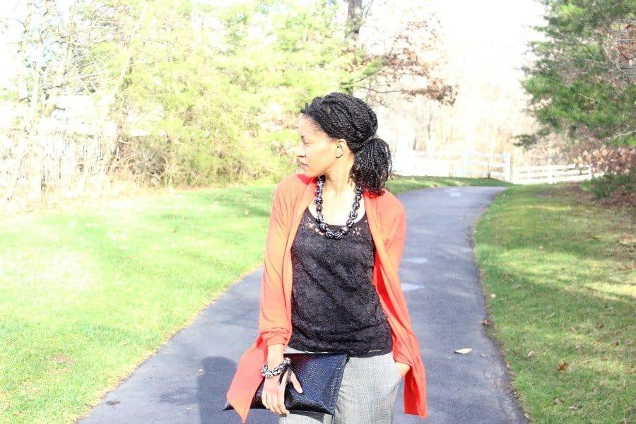 black lace top plaid pants1