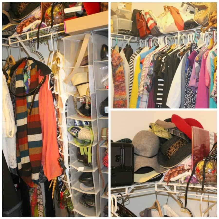 disorganized closet collage