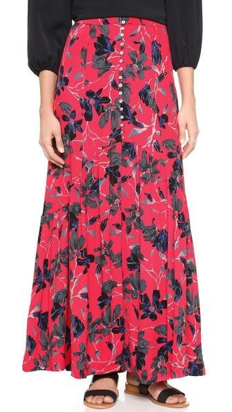 floral free people red skirt