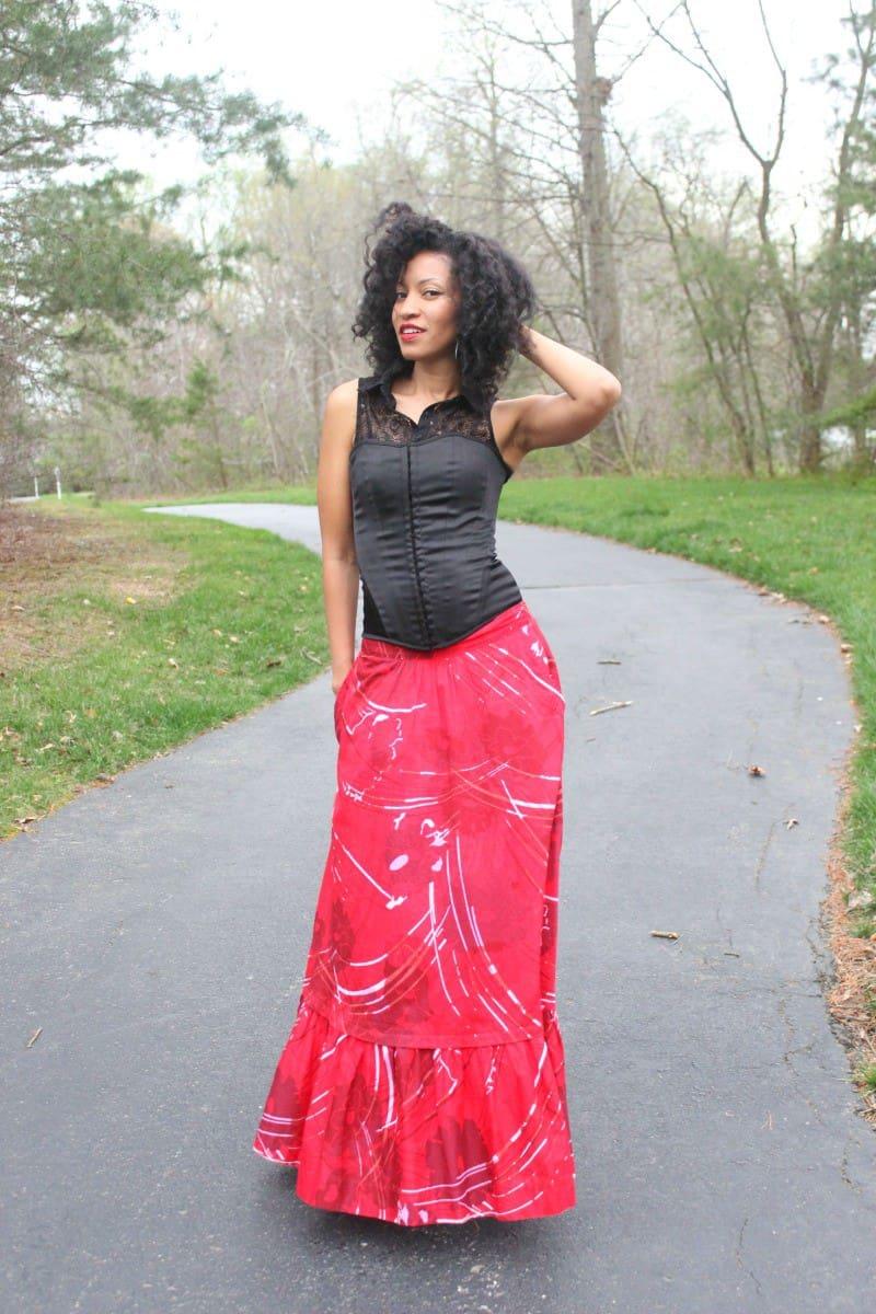 red flowy skirt 3