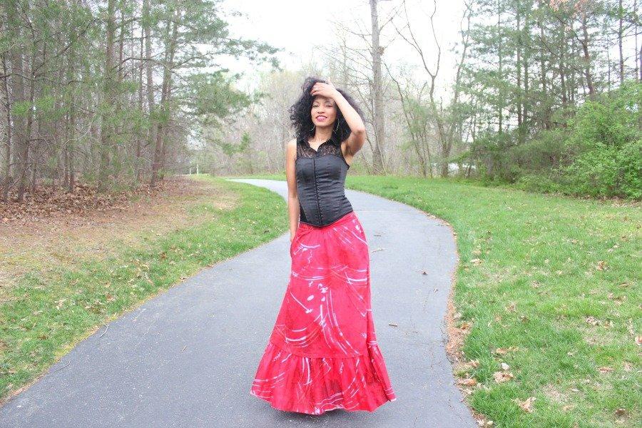 red flowy skirt1