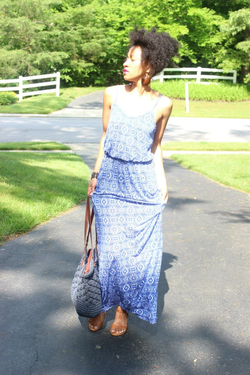 lush blue print maxi dress