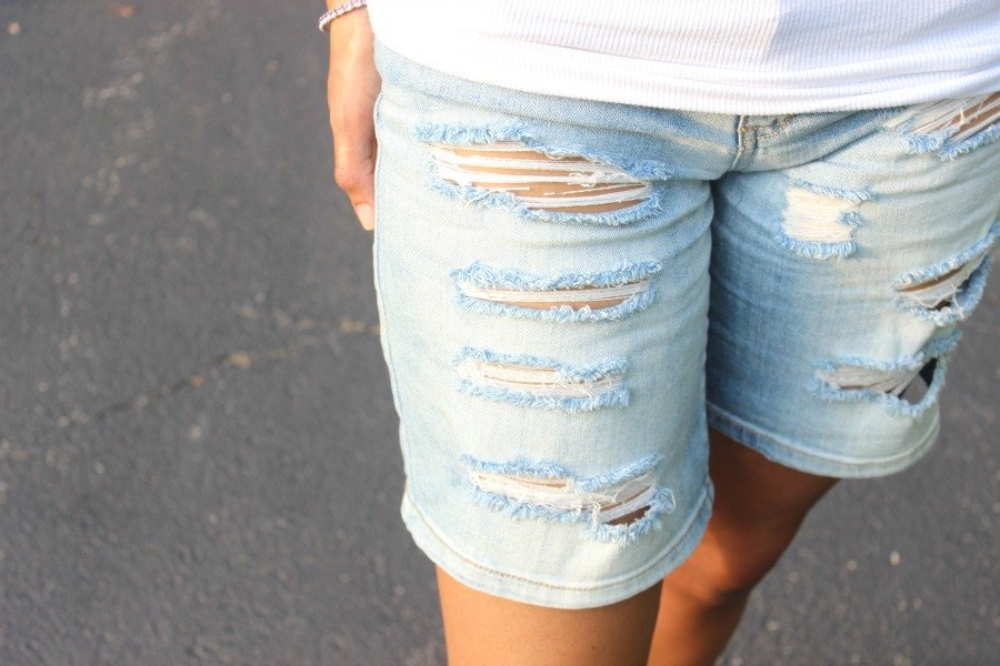 ripped sts blue denim shorts