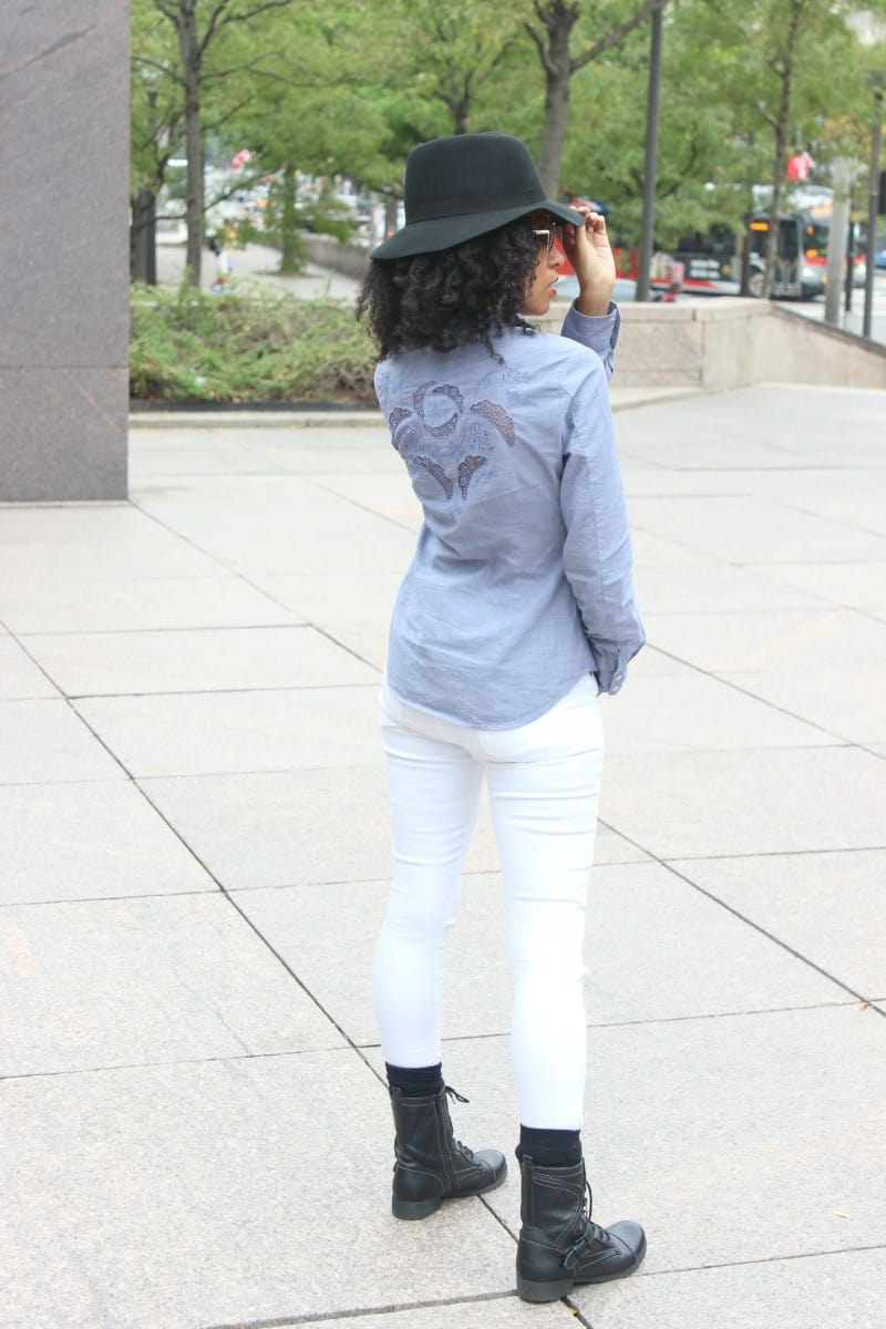 chambray long sleeved shirt with embroidery cut out