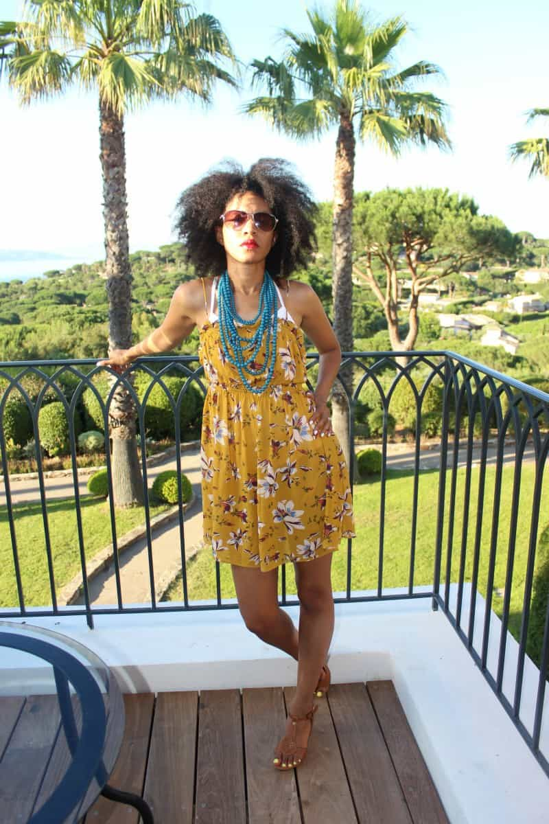 mustard short sleeveless free people floral dress at chateau de la Messardiere5