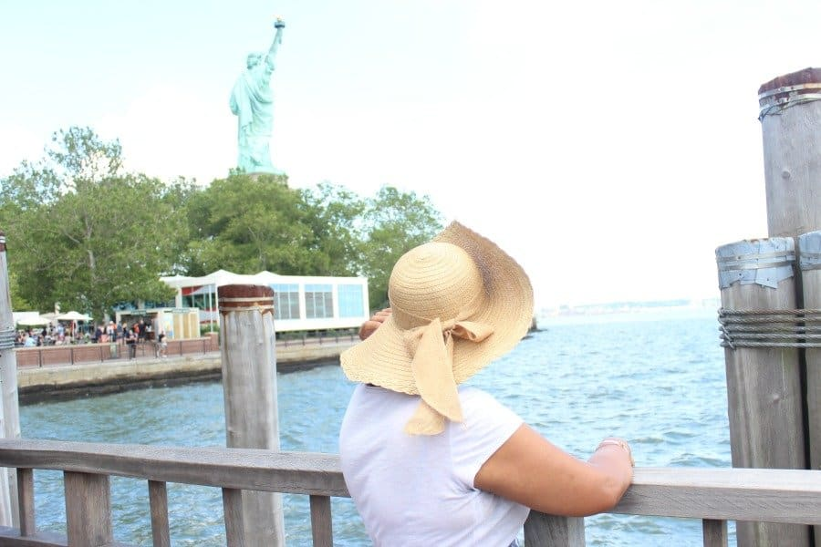 grandma looking at statue of liberty