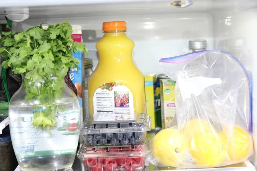 orange juice inside fridge