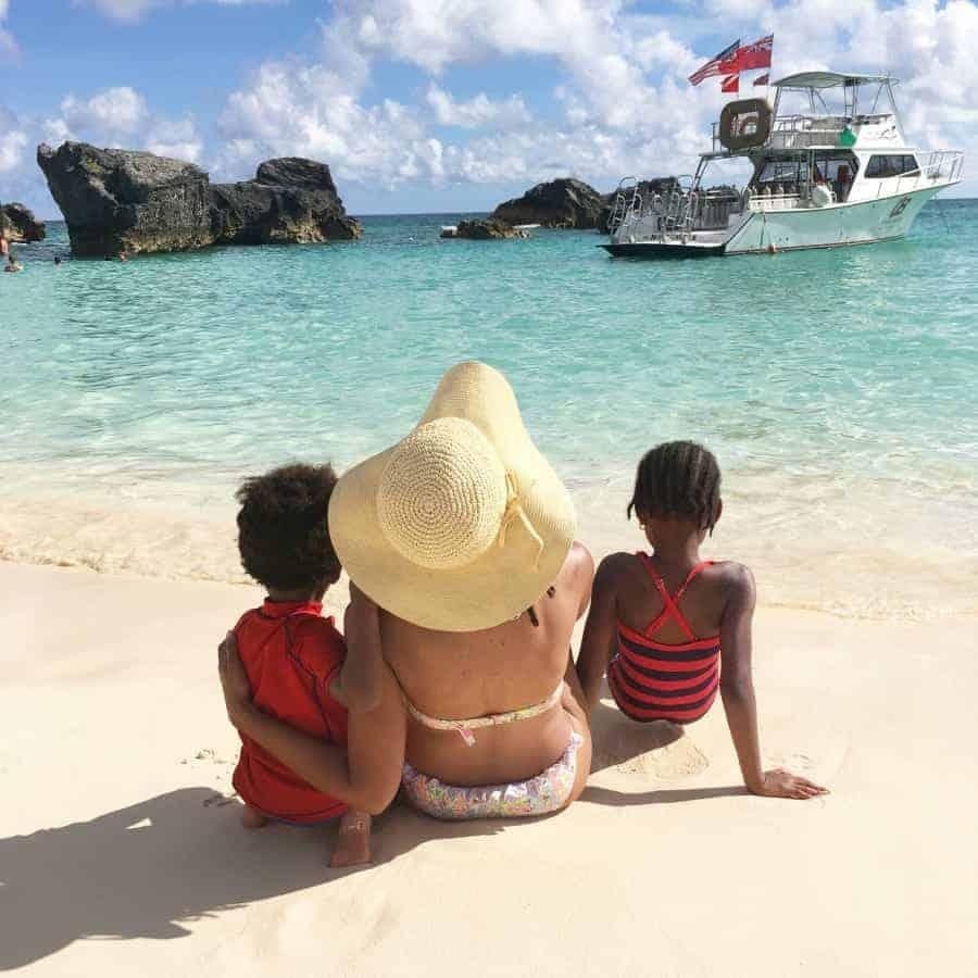 moms and kids on beach in bermuda