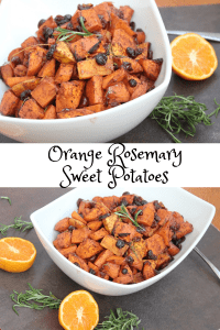 Gluten free and vegan recipe for orange rosemary sweet potatoes. So tasty that you'll want to make these sweet potatoes again and again. A great sweet potato recipe for a healthy Thanksgiving.