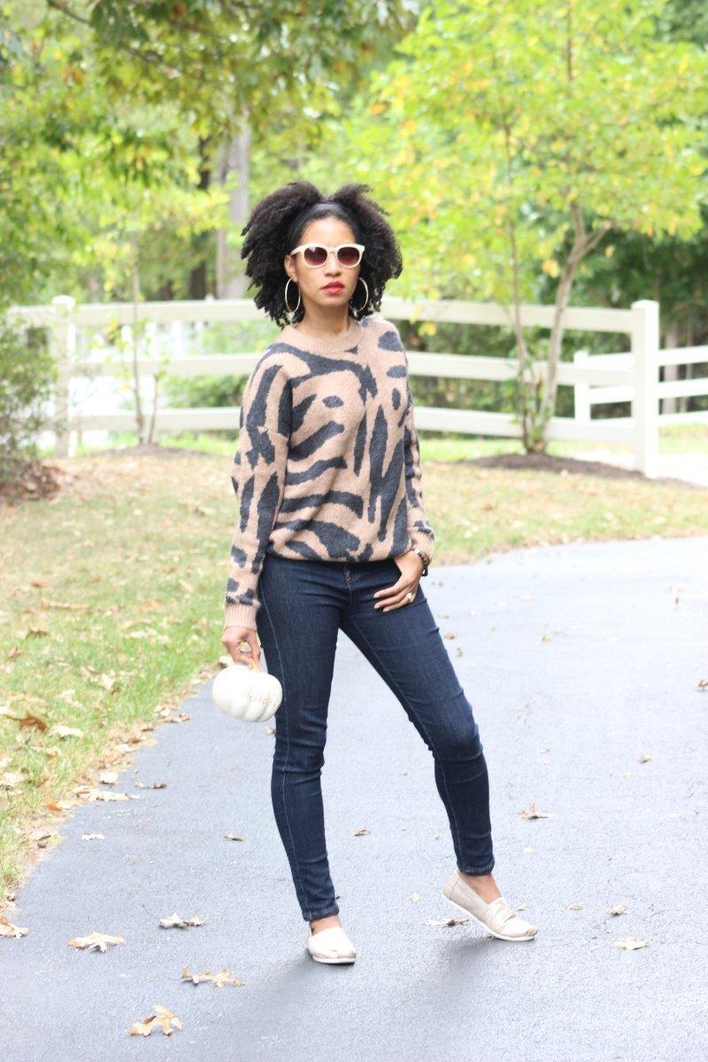 Tiger print fall sweater