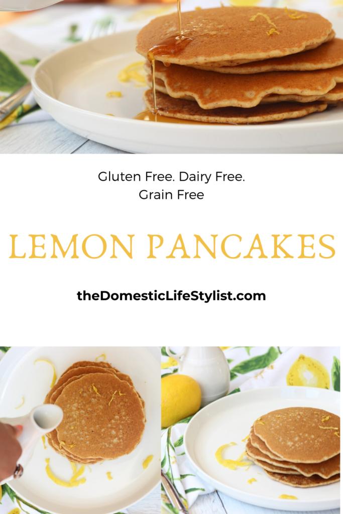 gluten free, dairy free, grain free pancakes with lemon