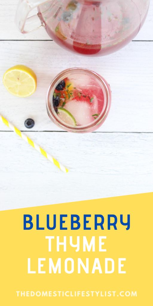 homemade blueberry lemonade with thyme
