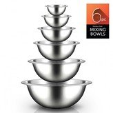 Nutrichef NCMB6PC.5 - Kitchen Mixing Bowls - Food Mixing Bowl Set, Stainless Steel (6 Bowls)