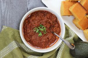 bowl of gluten free chili con carne