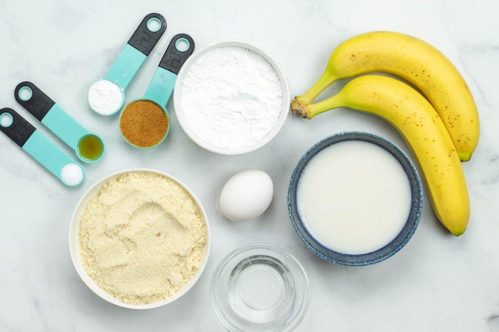 Ingredients for almond flour banana pancakes
